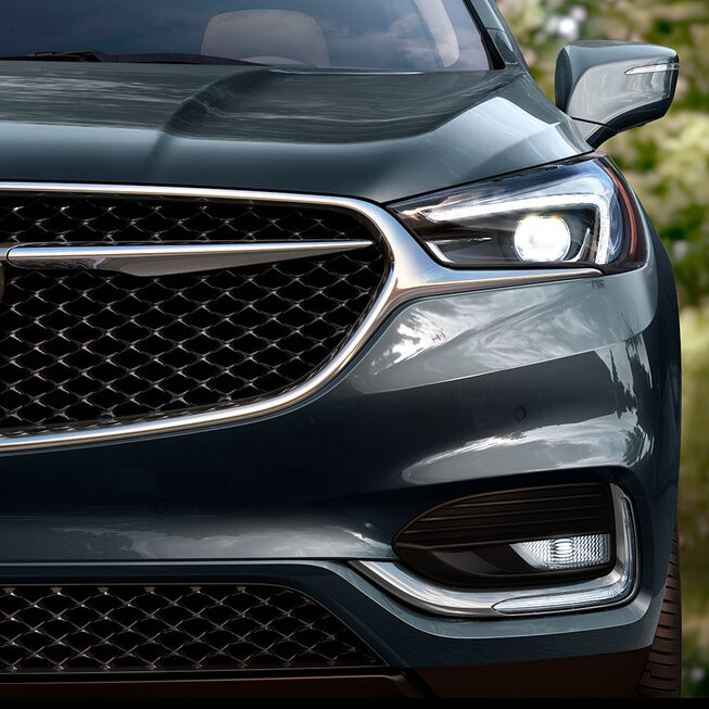 The 2019 Enclave Avenir's grille with Black Ice finish.