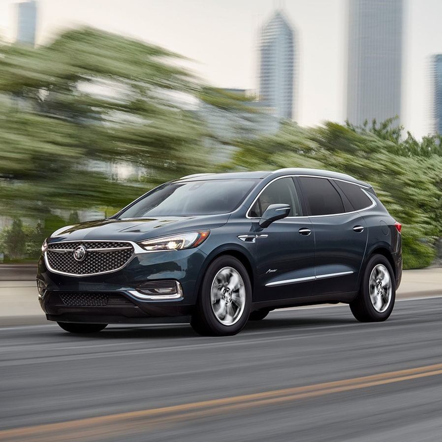 The 2019 Buick Enclave Avenir mid-size luxury SUV's performance features.