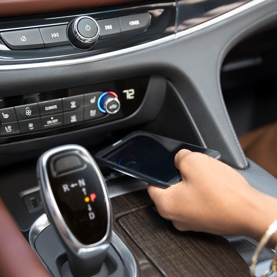 The Enclave Avenir luxury SUV's wireless charging mat.