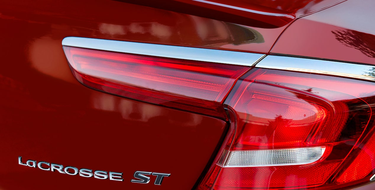 LED Tail lamps on the 2019 LaCrosse full-size luxury sedan.