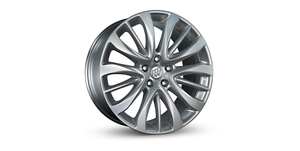 Buick LaCrosse's Sport Touring exclusive 19-inch painted aluminum wheels with Midnight Silver finish.