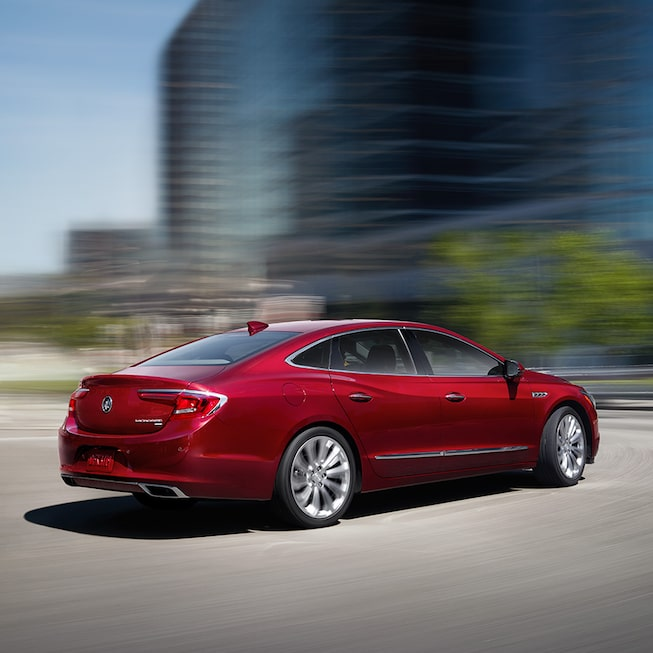 Exterior of the LaCrosse Premium in Red Quartz Tintcoat with available Dynamic Drive Package.