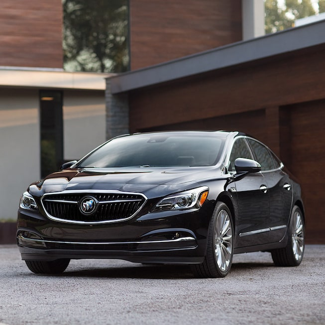 Exterior of the 2019 Buick LaCrosse Premium in Ebony Twilight Metallic.