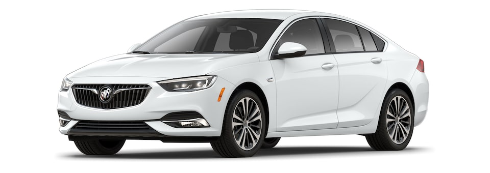 Exterior of the 2020 Buick Regal Sportback in Summit White.