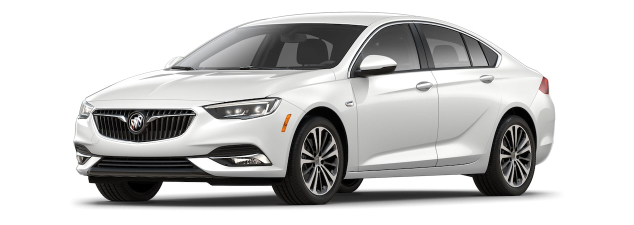 Exterior of the 2019 Buick Regal Sportback in White Frost Tricoat.
