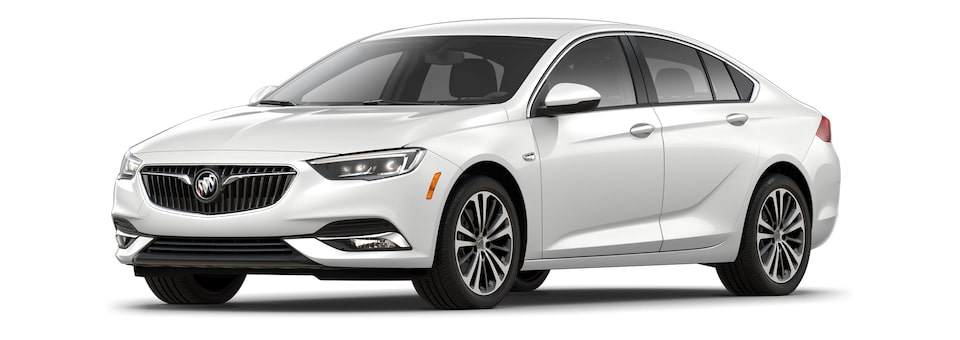 Exterior of the 2020 Buick Regal Sportback in White Frost Tricoat.