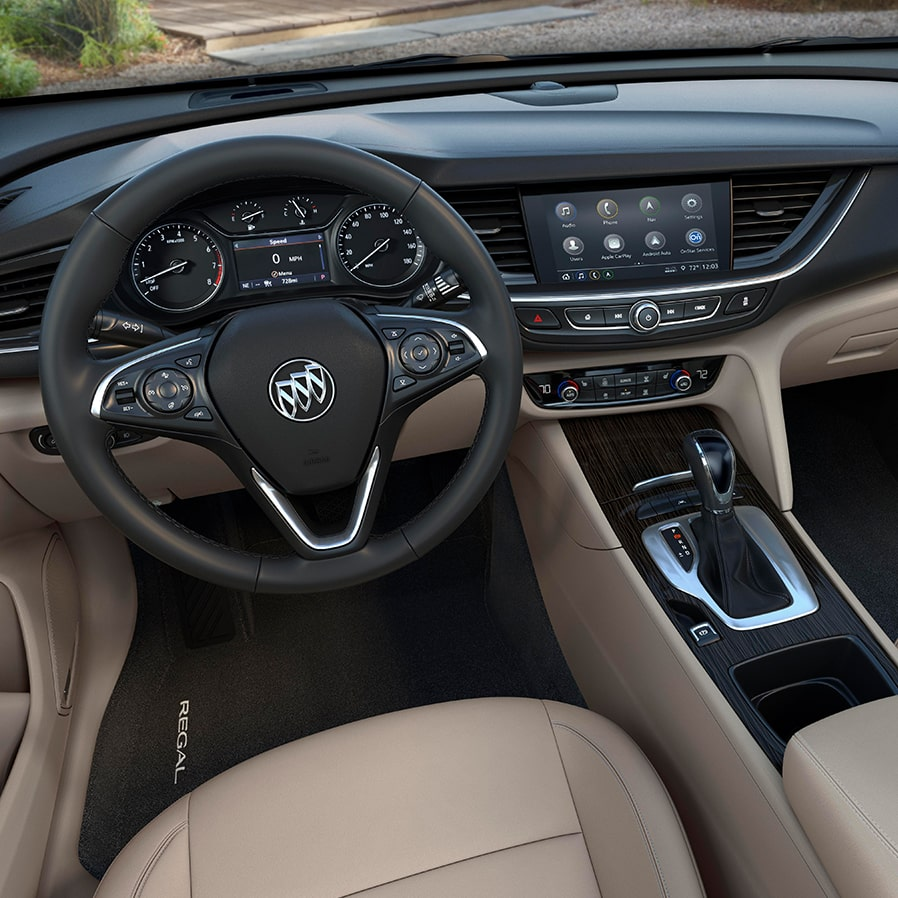 Interior of the 2019 Buick Regal Sportback mid-size luxury sedan.