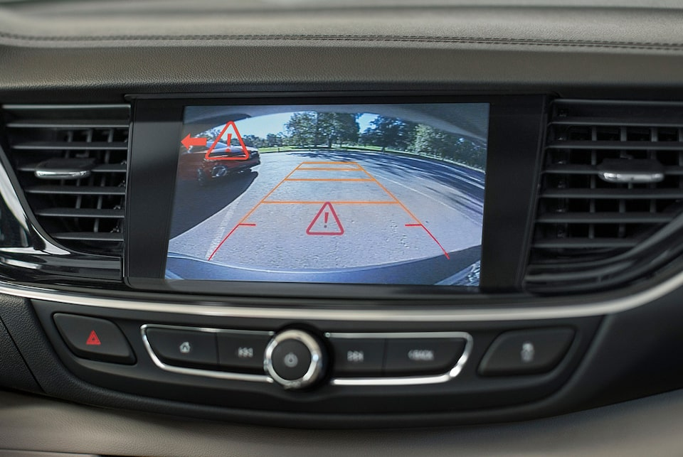 2019 Buick Regal Sportback safety: available Rear Cross Traffic Alert technology.