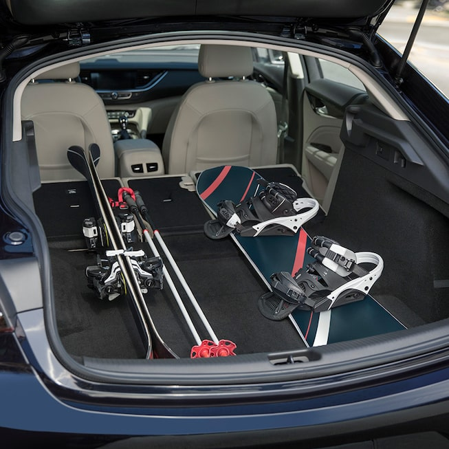 Buick Regal Sportback interior: versatile cargo space with flexible rear fold seats.
