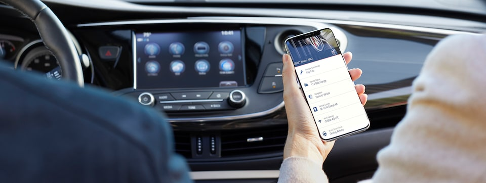 A smartphone connected to the myBuick App.