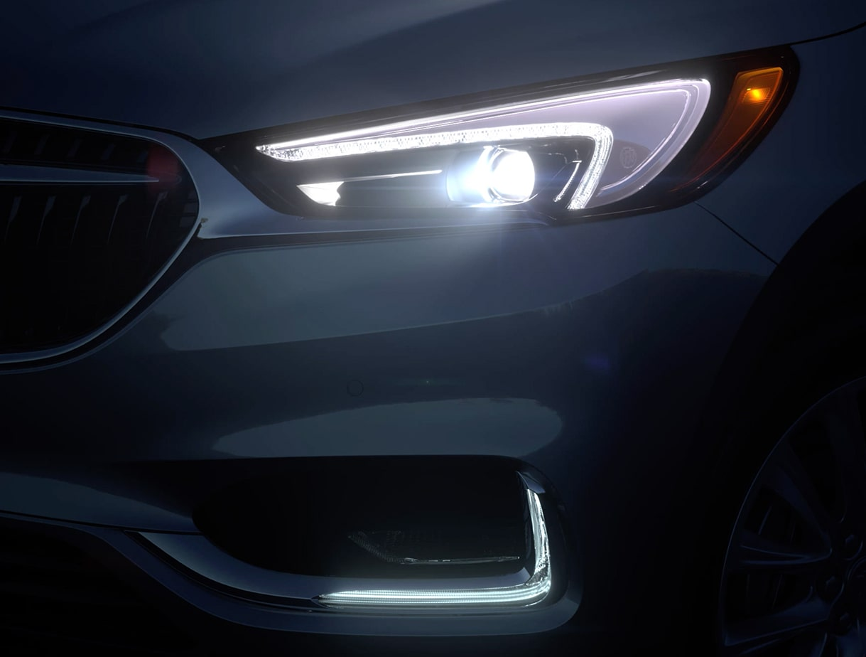 2019 Buick Enclave exterior: winged LED headlamps.