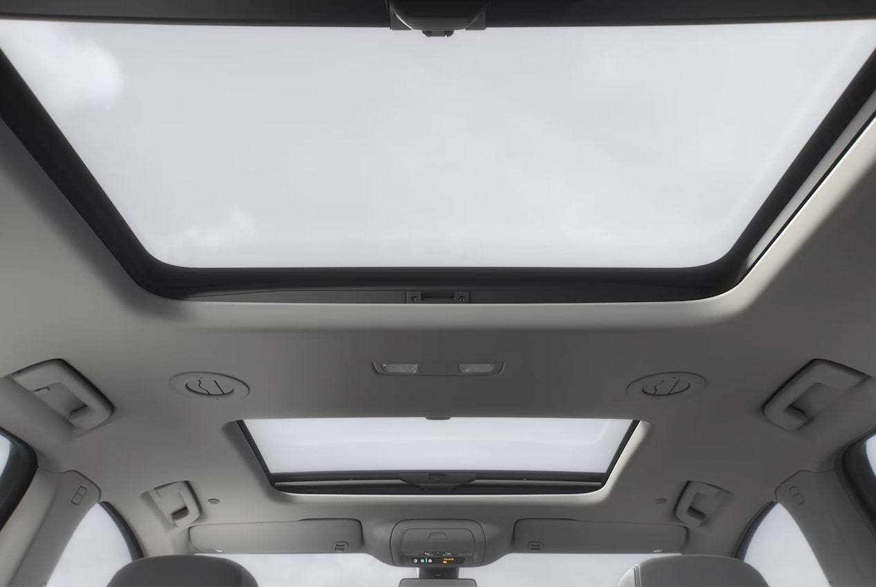 The Buick Enclave's available power sunroof with rear fixed skylight.