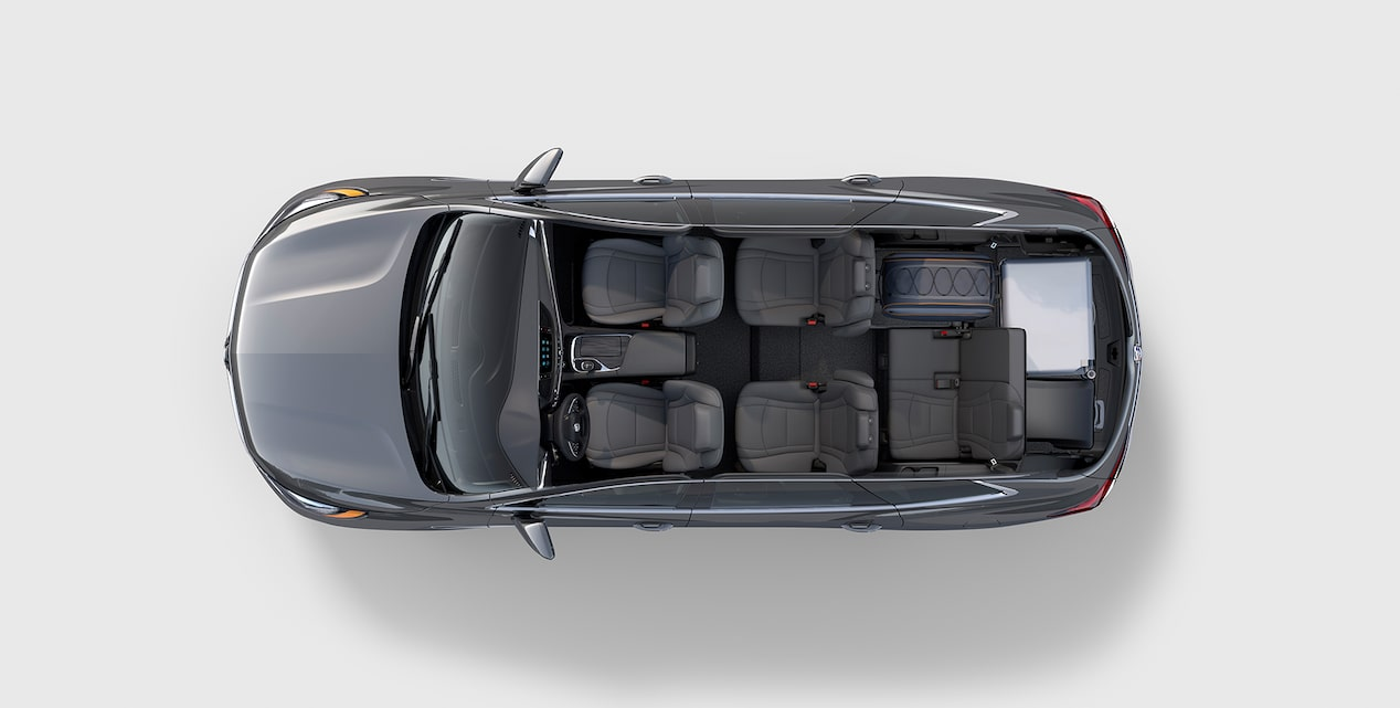 Overhead view of the 2019 Buick Enclave's SmartSlide second-row seating.
