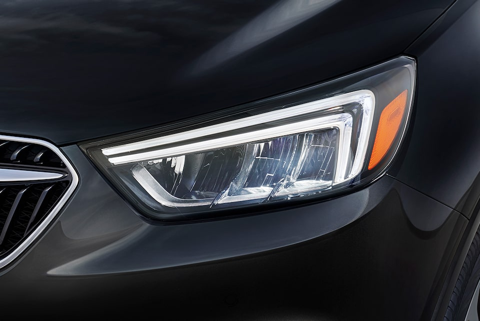The 2019 Encore's standard LED daytime running lamps.