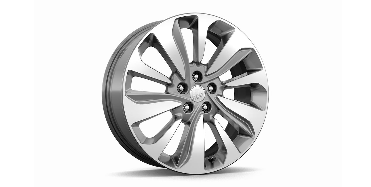 18-inch, 10-spoke aluminum wheels with Light Argent finish, standard on Encore Preferred trim.