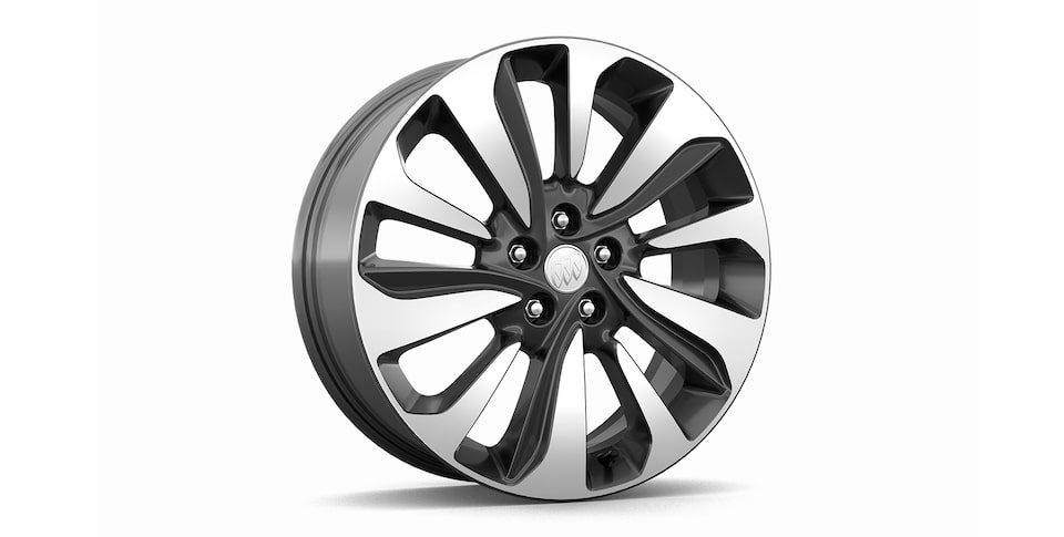 18-inch, 10-spoke aluminum wheels with Technical Grey pockets, standard on Encore Essence trim.