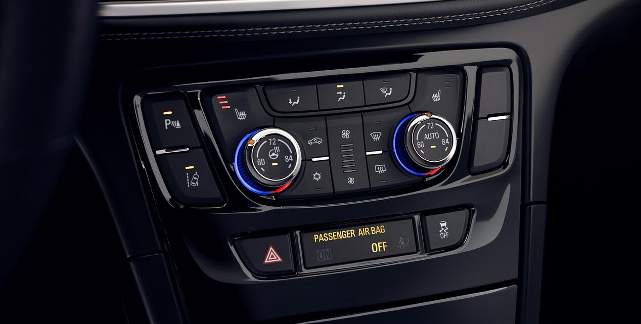 Available dual-zone automatic climate control inside the 2019 Encore small SUV.