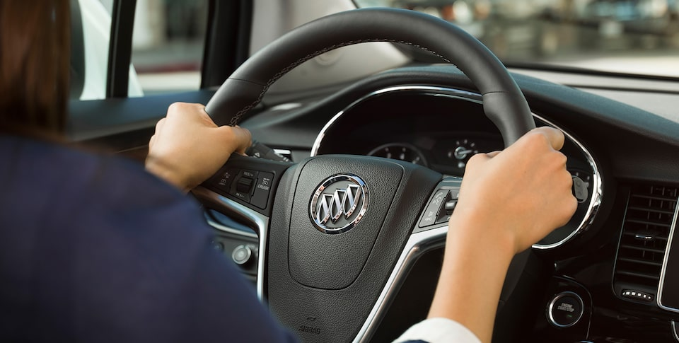 Buick Encore interior: available leather-wrapped heated steering wheel.