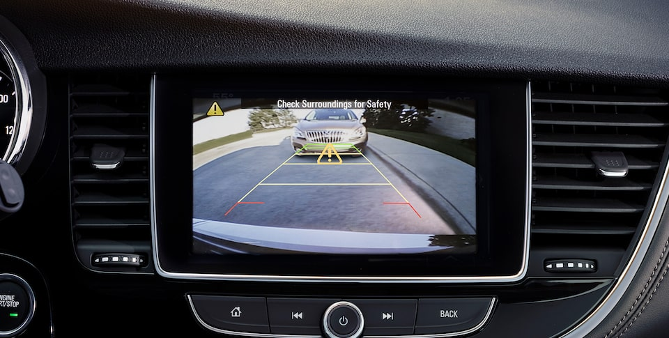 Buick Encore's standard Rear Vision Camera with available Rear Park Assist feature.