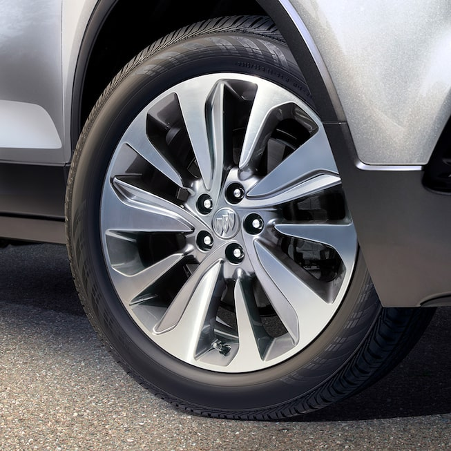 Aluminum wheels on the 2019 Encore small luxury SUV.