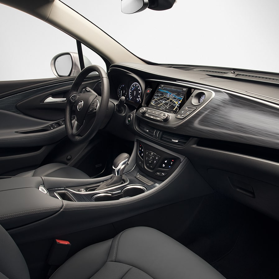 Interior of the 2019 Buick Envision compact luxury SUV.