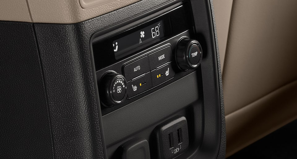 2019 Buick Envision interior: available tri-zone HVAC automatic climate controls.