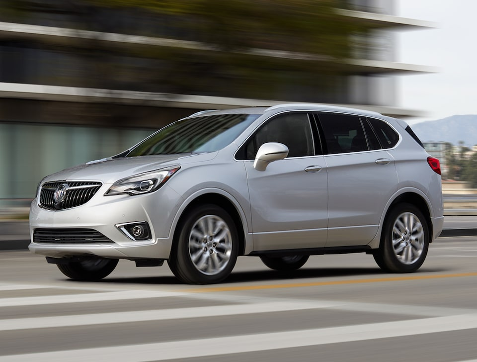 The Buick Envision's available technology provides gentle steering-wheel turns.