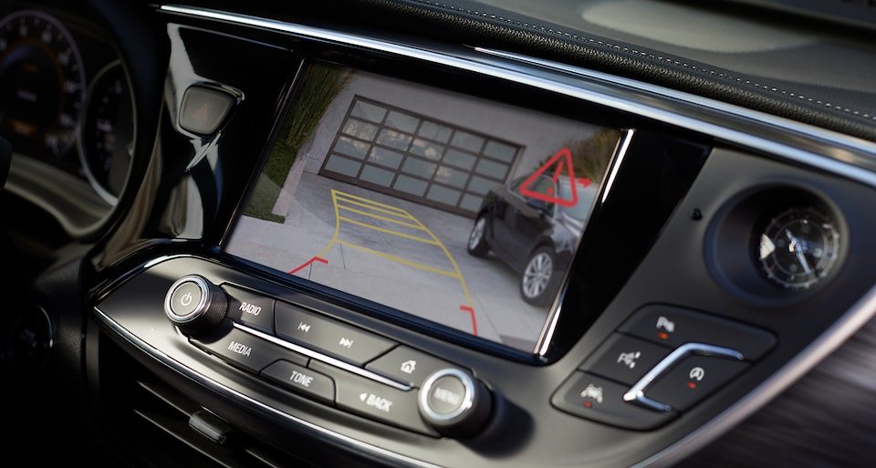 2019 Envision compact luxury SUV's Rear Vision Camera with available Rear Cross Traffic Alert.