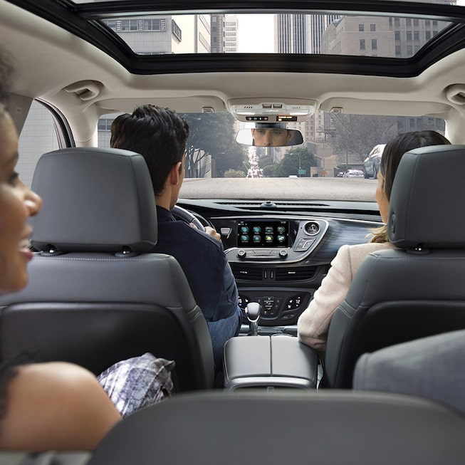 2019 Envision interior: second-row seating with 7-inch rearward slide capability.