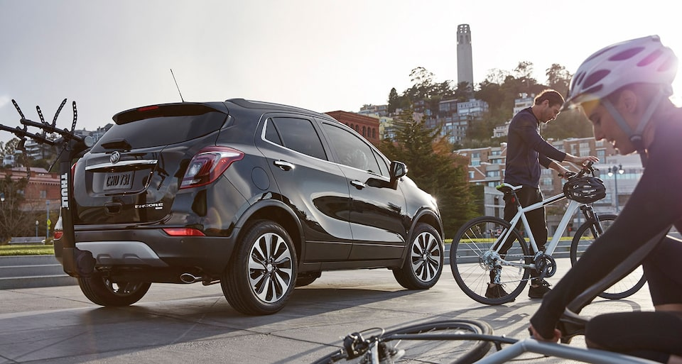 2020 Buick Encore Small SUV: Exterior Rear View With Bike Rack.