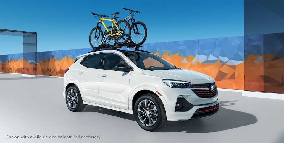Bike attached to the 2020 Buick Encore GX Sport Touring roof rails.