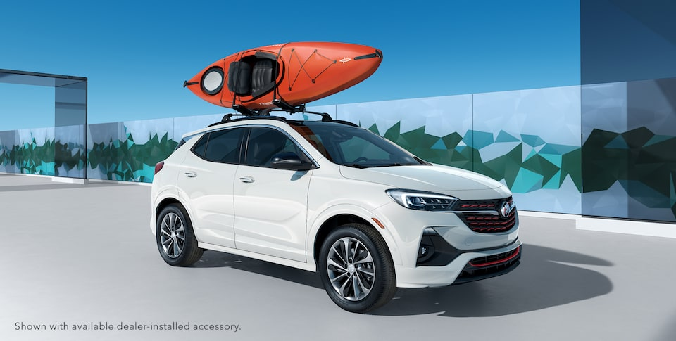 Kayak attached to the 2020 Buick Encore GX Sport Touring roof rails.