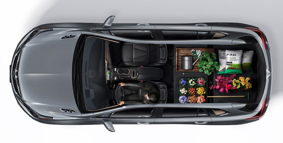 2020 Envision interior driver's seat and extra back cargo.