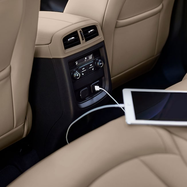 Tablet Connected On Passenger Beige Leather Seats Of The Envision.
