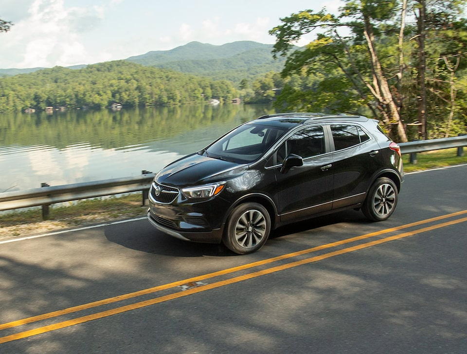 2021 Buick Encore driving on the road featuring the Stabilitrak.