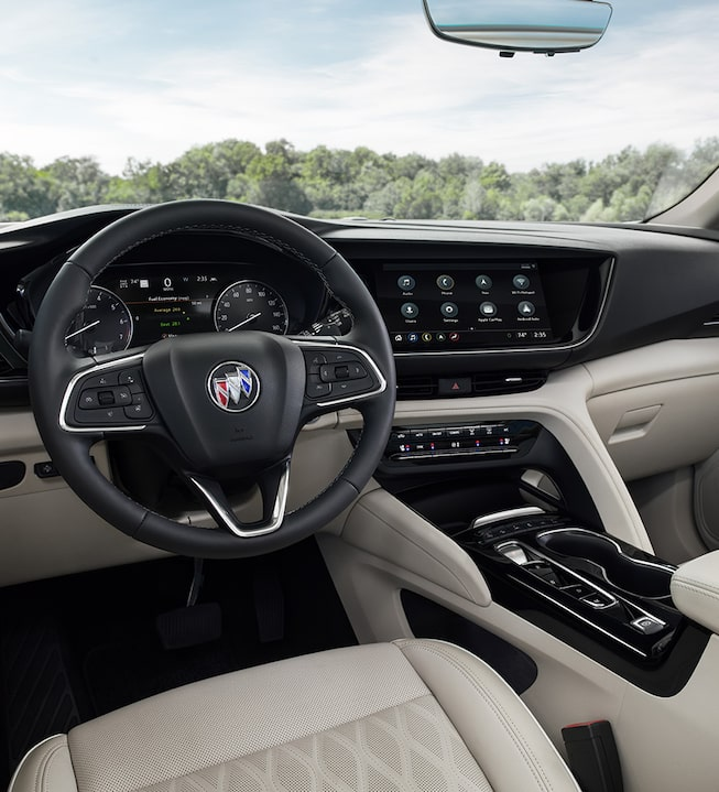 2021 Buick Envision interior featuring the steering wheel.