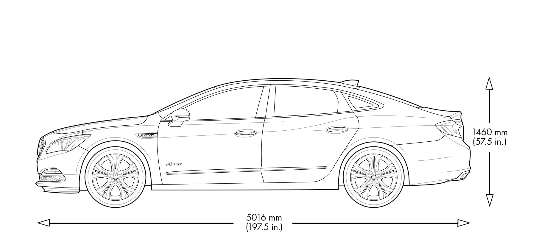 Height and width dimensions of the 2019 Buick LaCrosse Avenir.