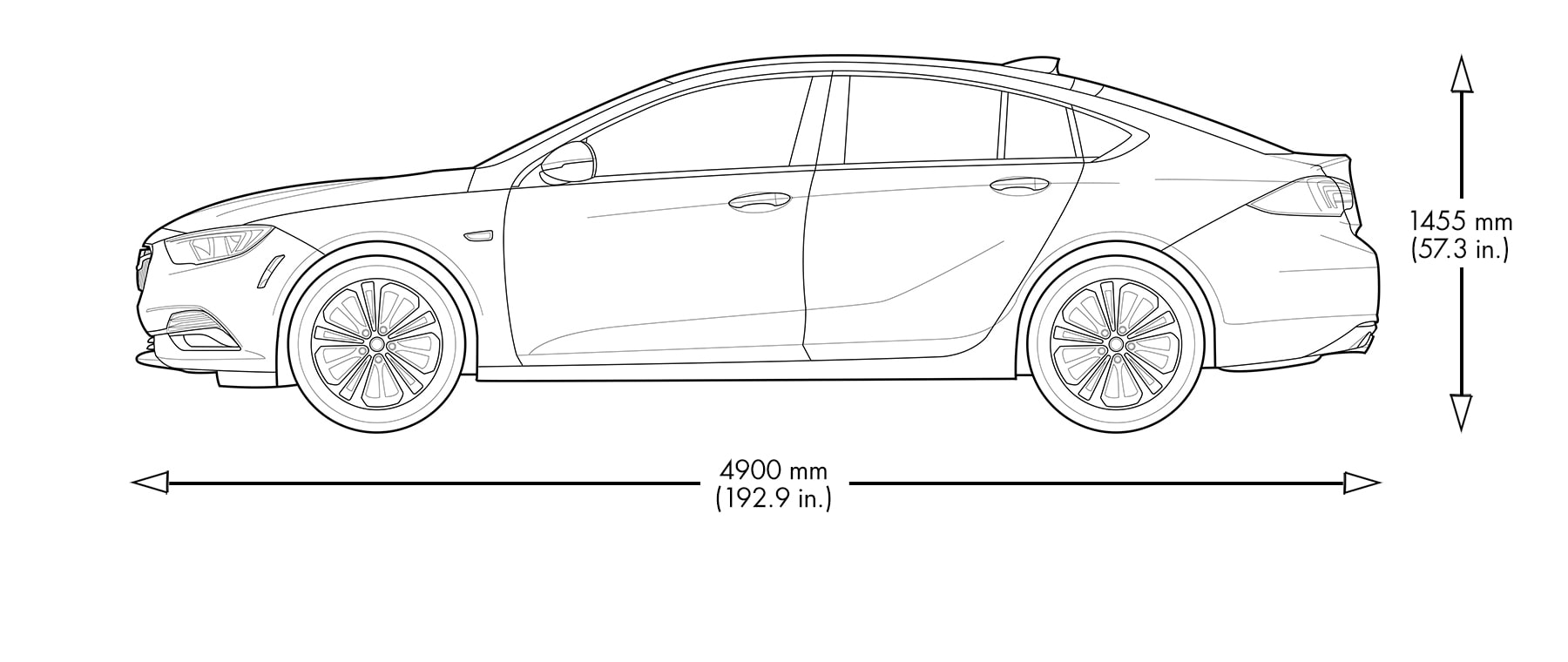 Spec diagram of 2020 Buick Regal Sportback mid-size sedan.