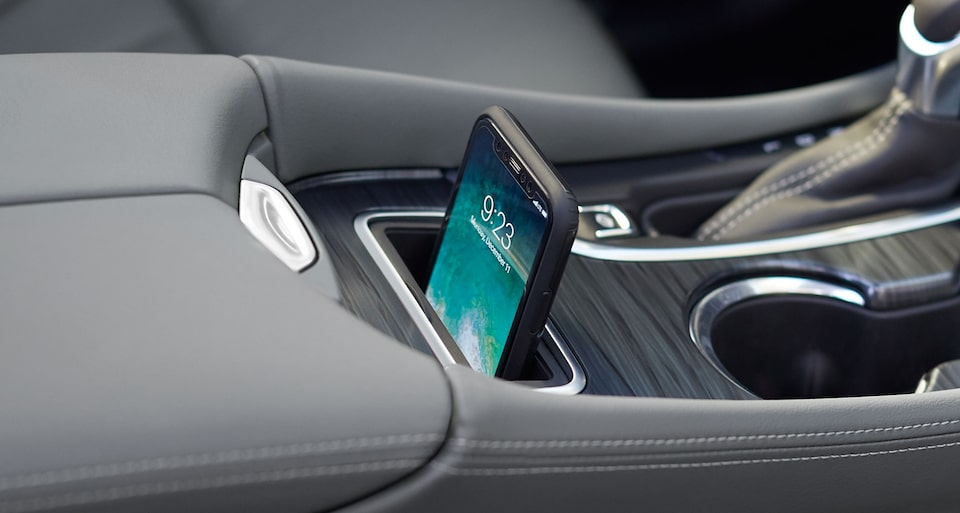 The 2020 Buick Envision's available wireless charging pocket.