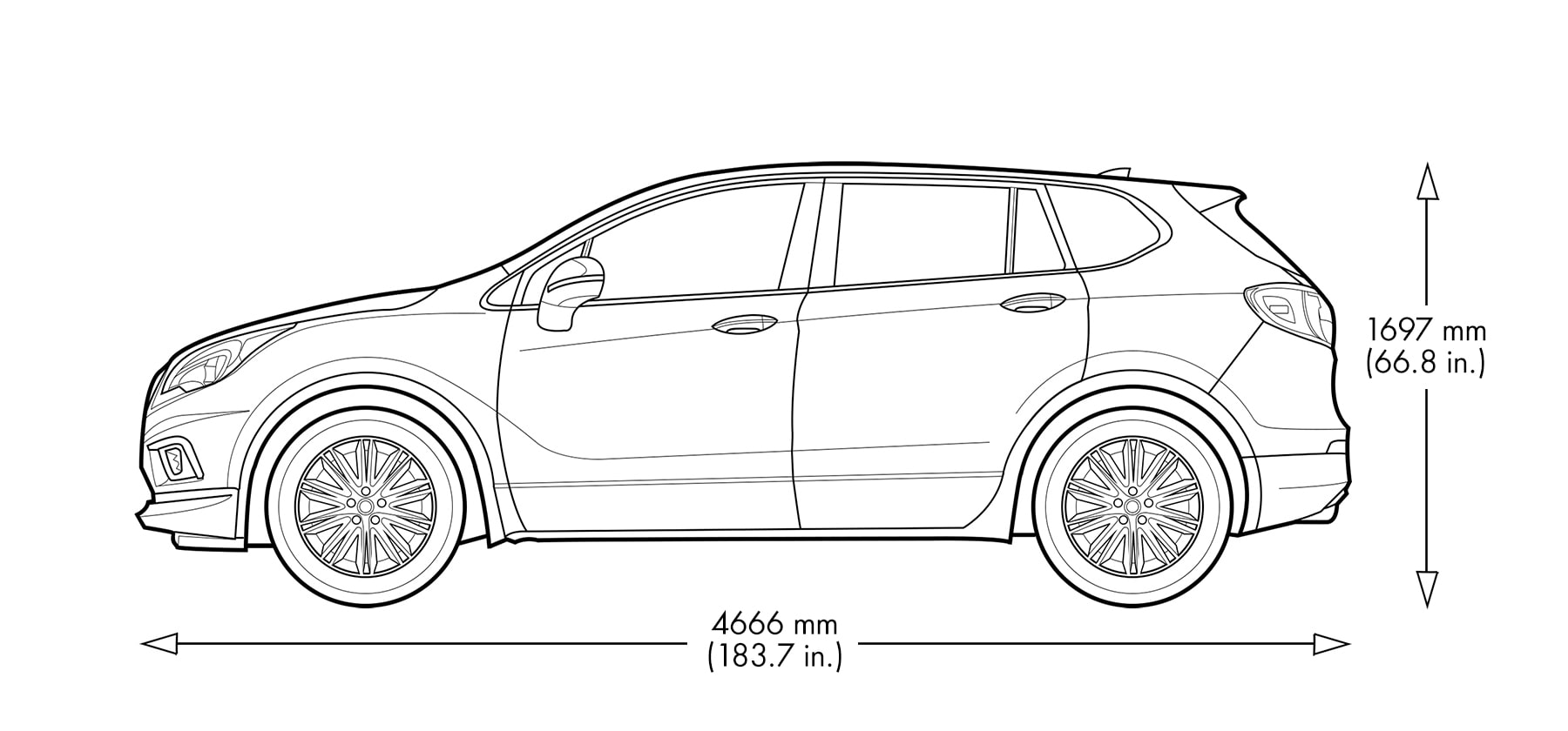 Diagram image of the 2020 Buick Envision compact SUV.