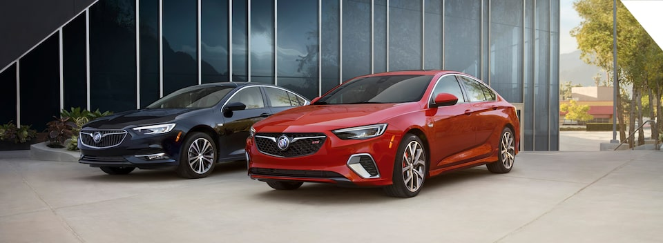 Discontinued 2020 Buick Regal Sportback and 2020 Buick Regal GS parked outside.