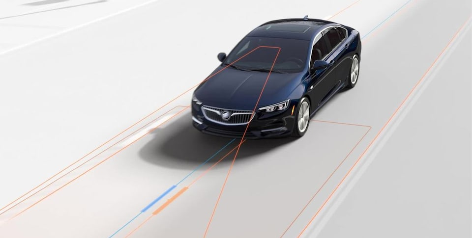 The Buick Regal Sportback's Lane Keep Assist with Lane Departure Warning feature.
