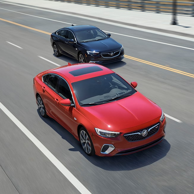 Overhead Exterior Profile Of The 2020 Regal GS In Sport Red.