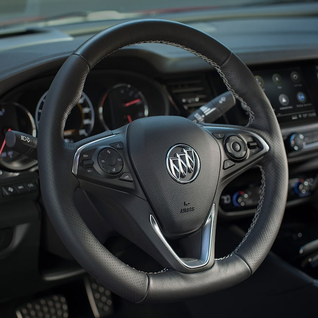 Regal GS Mid-Size Sedan's Heated, Leather-Wrapped, Sport Flat-Bottom Steering Wheel.